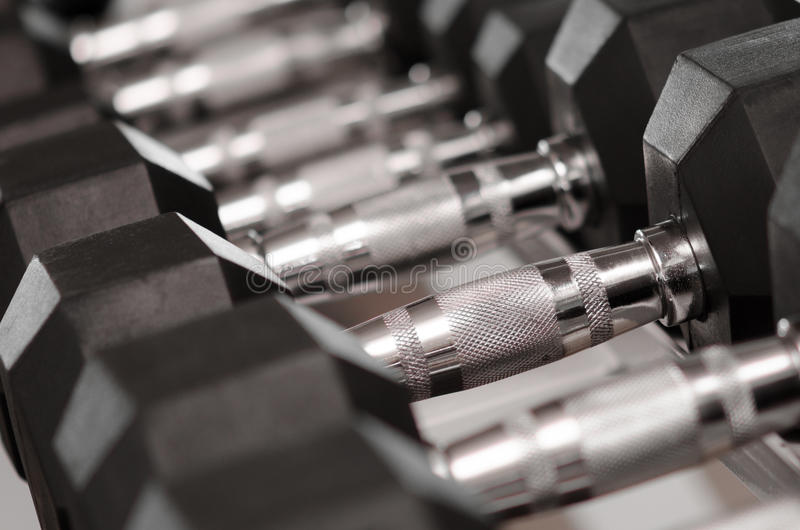 Weights. Many weights arranged in a rack stock photography