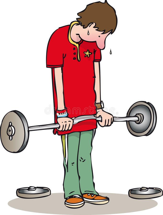 Weights. Young man struggling with lifting weights stock illustration