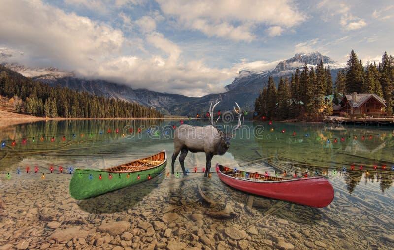 Weihnachten bei Emerald Lake stockbilder
