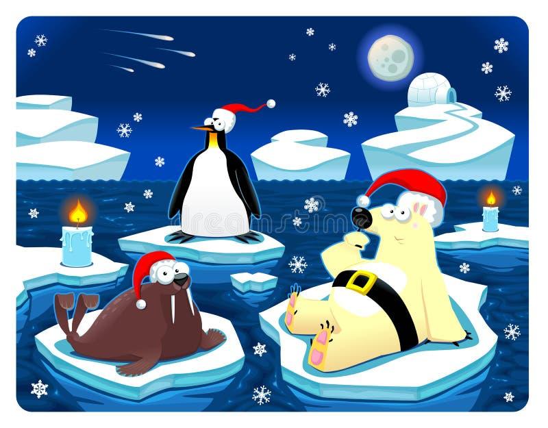 Weihnachten beim Nordpol. lizenzfreie abbildung