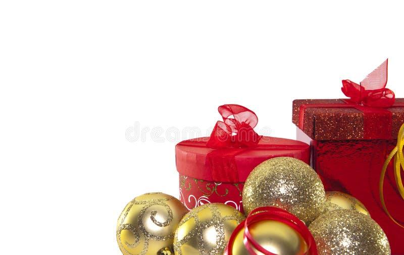 Weihnachten Bell und Geschenk Kästen lizenzfreies stockbild