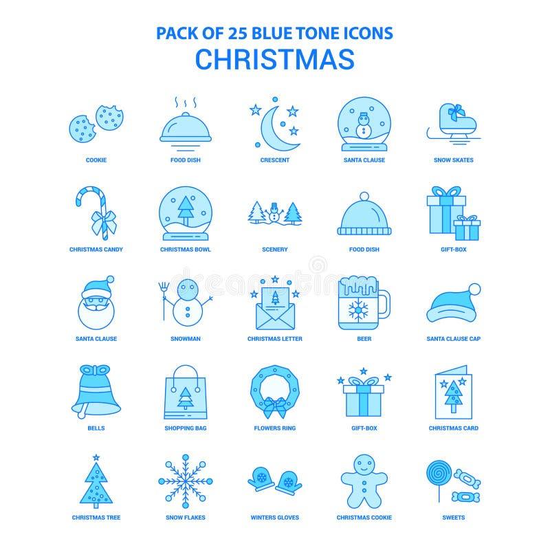 Weihnachten blaue Tone Icon Pack - 25 Ikonen-Sätze vektor abbildung