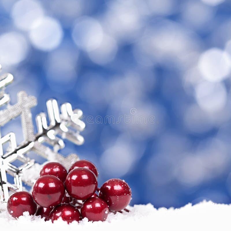 Weihnachten-bokeh Hintergrund mit Schneeflocken- und Beerenquadrat stockbild