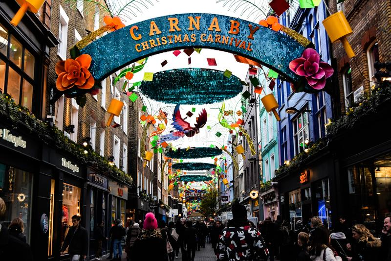 Weihnachten in Carnaby-Straße, London lizenzfreies stockfoto