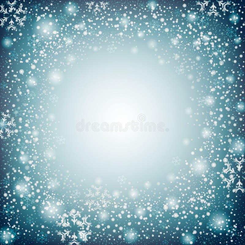 Weihnachten der blauen Naturschneeflocke in der Weihnachtsfestbild-Illustrationsrückseite lizenzfreie abbildung