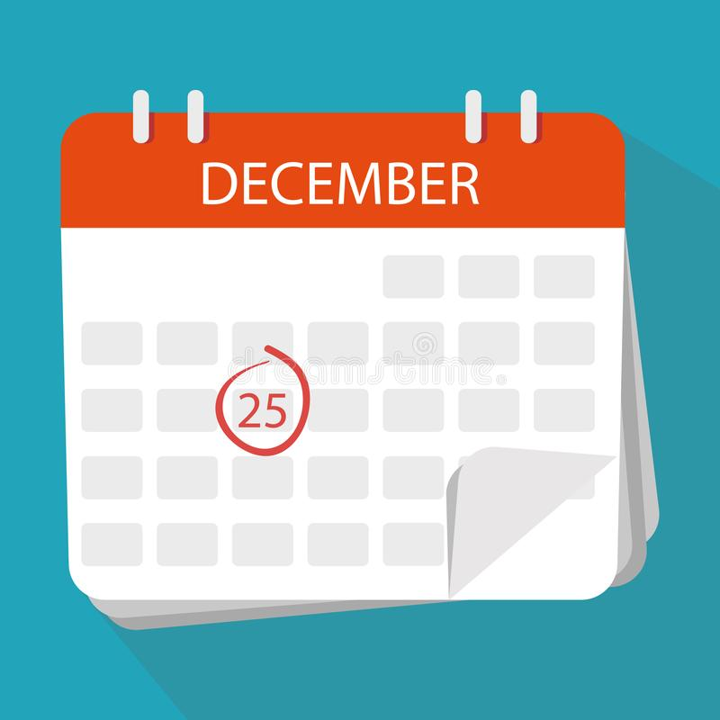 Weihnachten Dezember das 25. Tragen Sie Ikone ein Flache Illustration des Vektors lizenzfreie abbildung