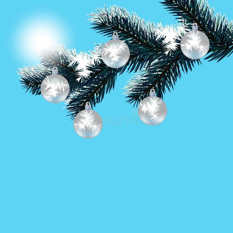 Weihnachten, die Karte des neuen Jahres Eisiger Wintertag Silberne Bälle auf einem schneebedeckten Baumast stock abbildung
