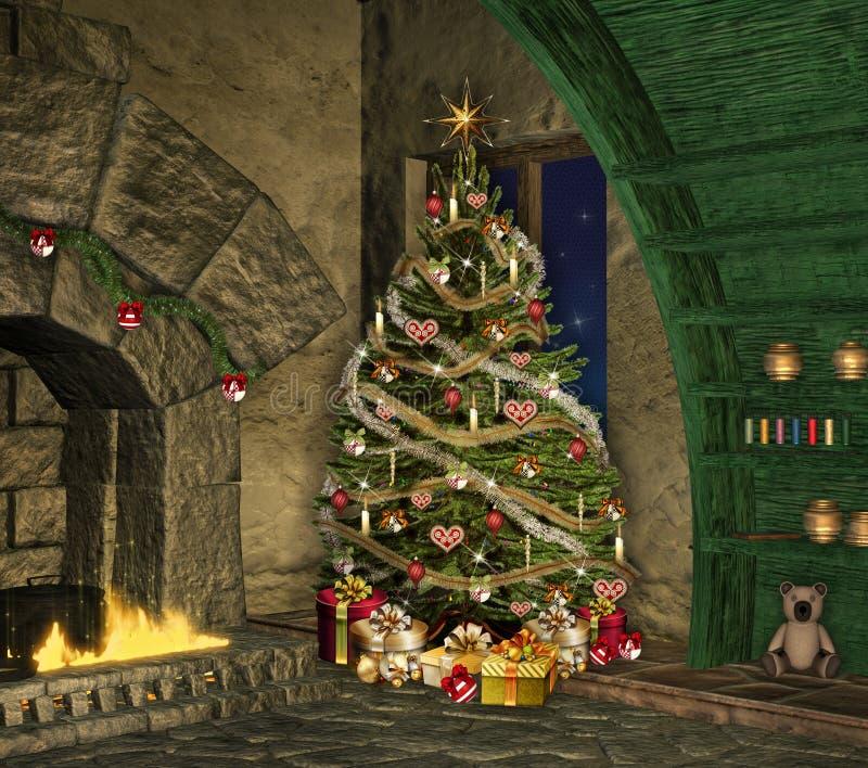 Weihnachten in einem alten Häuschen lizenzfreie abbildung