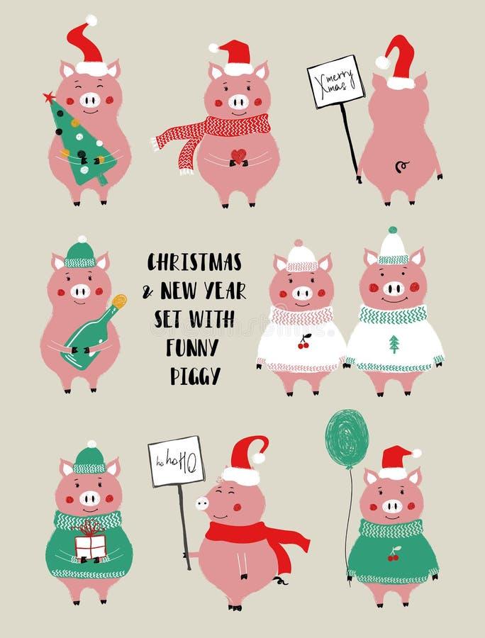 Weihnachten eingestellt mit nettem Schwein lizenzfreie abbildung