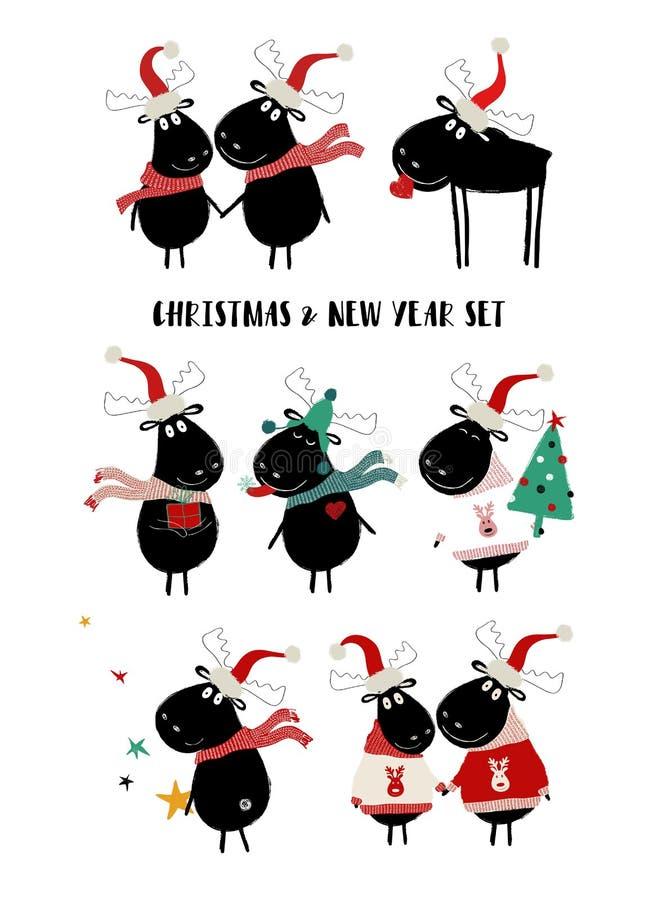 Weihnachten eingestellt mit netten Elchen lizenzfreie abbildung