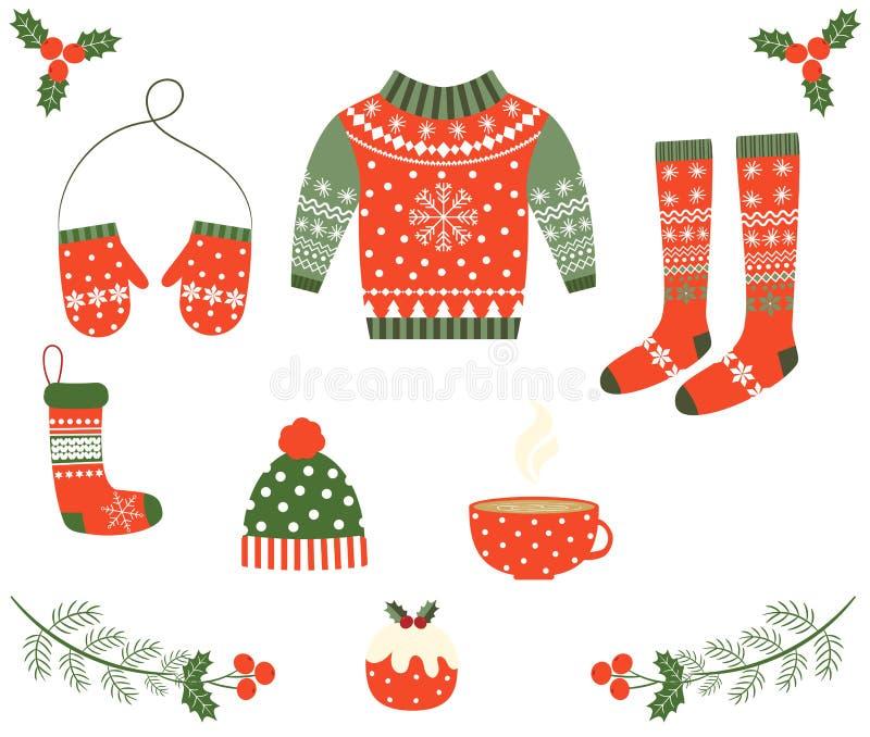 Weihnachten eingestellt mit roter und gr?ner Kleidung lizenzfreie abbildung
