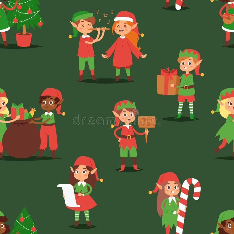 Weihnachten- elfs scherzt die elfish jungen traditionellen Charaktere der Jungen und der Mädchen der Vektorkind-Santa Claus-Helfe lizenzfreie abbildung