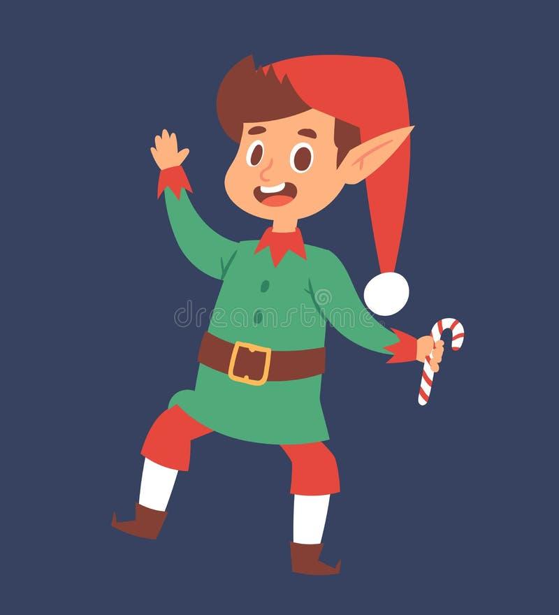 Weihnachten- elfs scherzt traditionelles Kostüm der elfish Charaktere des Jungen der Vektorkind-Santa Claus-Helferkarikatur junge vektor abbildung