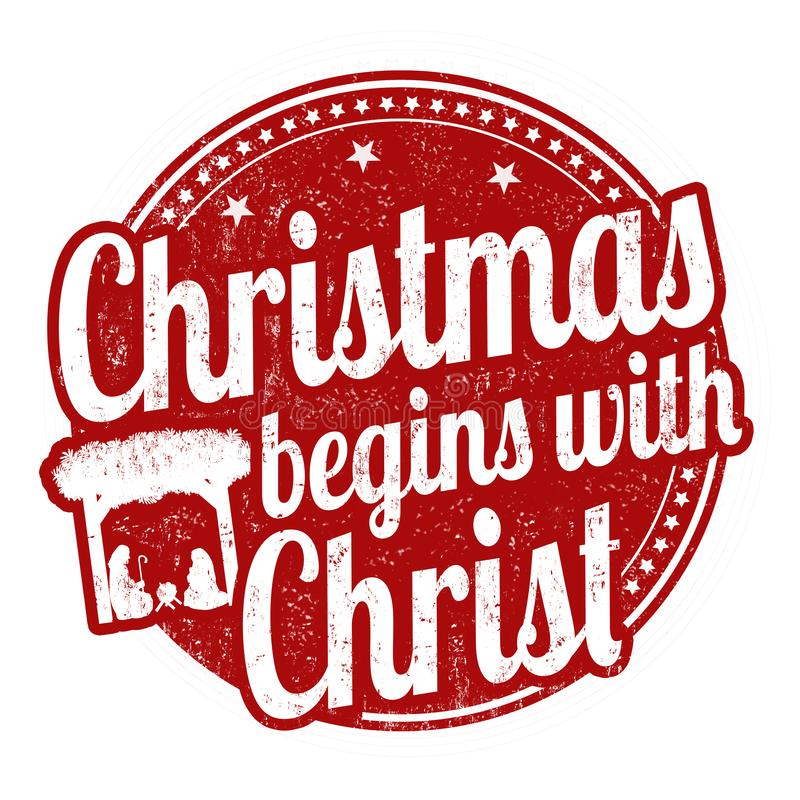 Weihnachten fängt mit Christus-Zeichen oder -stempel an vektor abbildung
