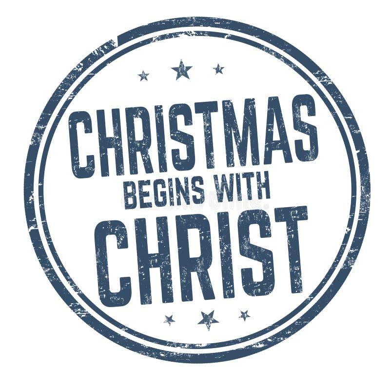 Weihnachten fängt mit Christus-Zeichen oder -stempel an stock abbildung