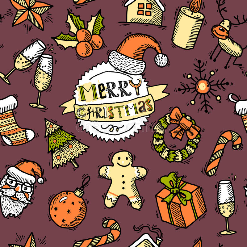 Weihnachten farbiges nahtloses Muster lizenzfreie abbildung