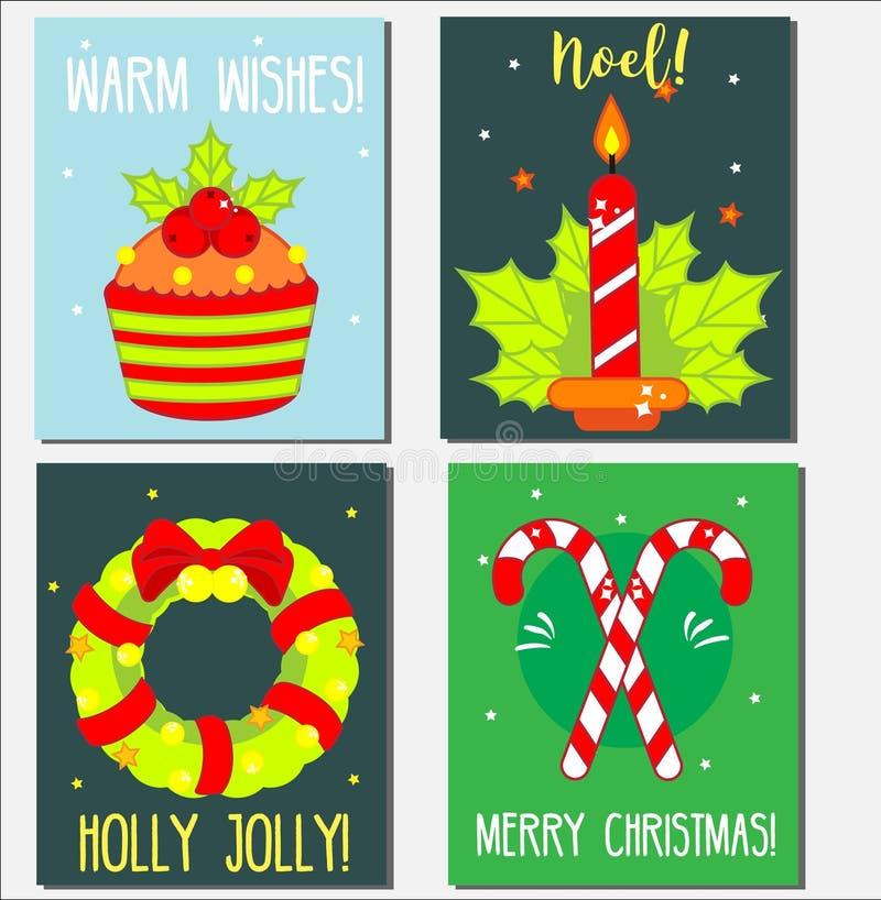 Weihnachten, Feiertags-Grußkartenschablonen des neuen Jahres Kunst für Saisongrüße mit traditionellen Symbolen lizenzfreie abbildung