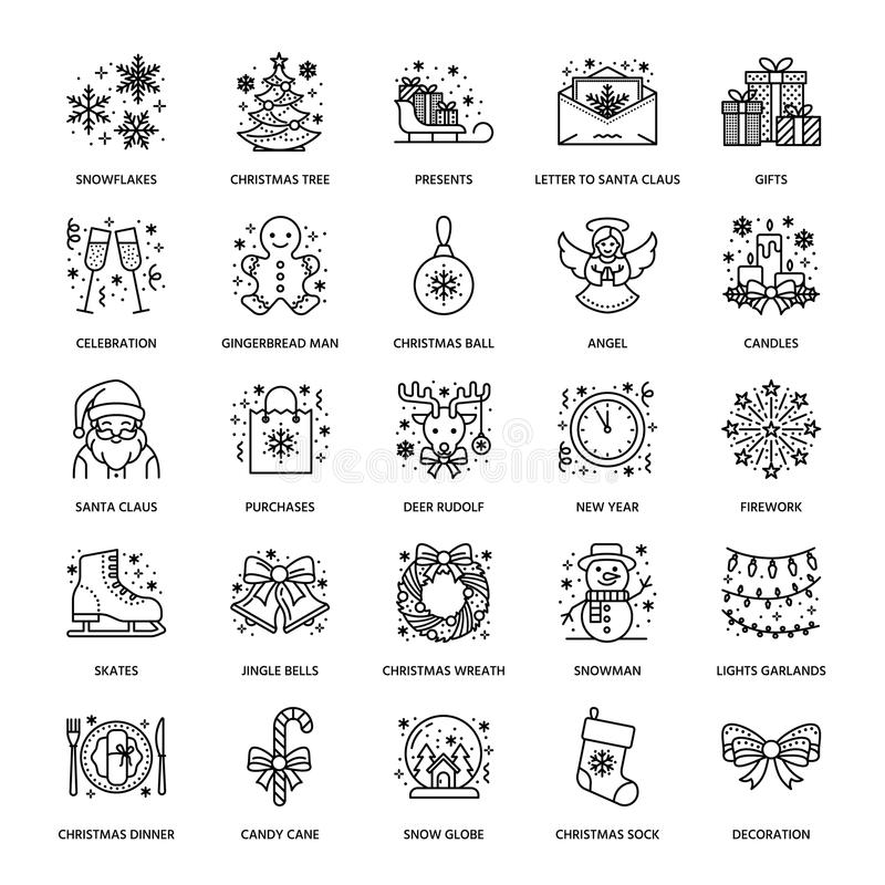 Weihnachten, flache Linie Ikonen des neuen Jahres Winterurlaube - Weihnachtsbaumgeschenk, Schneemann, Weihnachtsmann, Feuerwerke, vektor abbildung