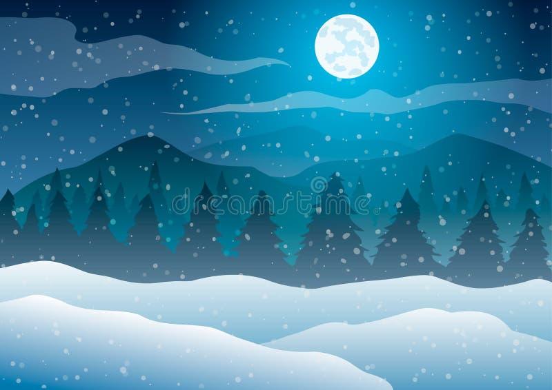 Weihnachten Gehende Leute auf der Straße Bäume gegen einen blauen Hintergrund des fallenden Schnees, des Mondes und der Berge vektor abbildung