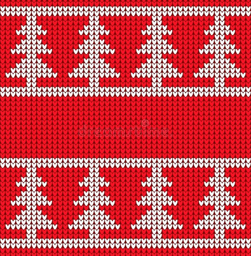 Weihnachten gestrickte Beschaffenheit Muster-Strickjackenart des Vektors nahtlose Bäume der weißen Weihnacht auf einem roten gest stock abbildung