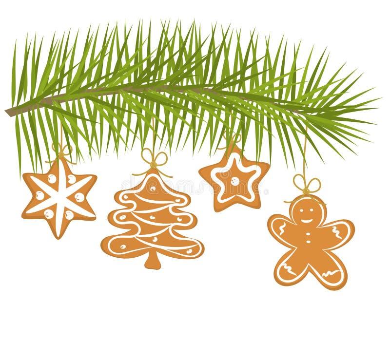 Weihnachten gingerbred Plätzchen lizenzfreie abbildung