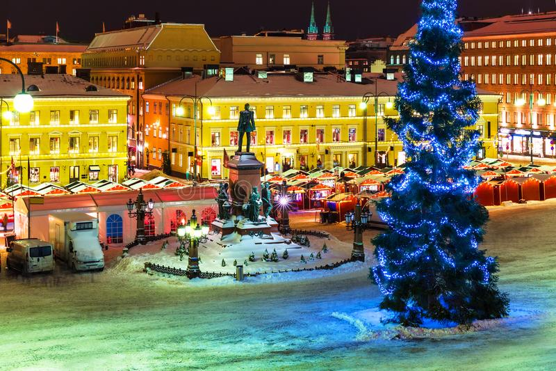 Weihnachten in Helsinki, Finnland lizenzfreies stockbild