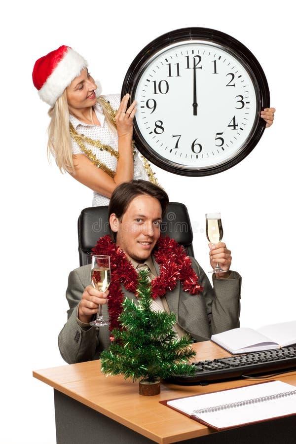 Weihnachten im Büro lizenzfreies stockfoto