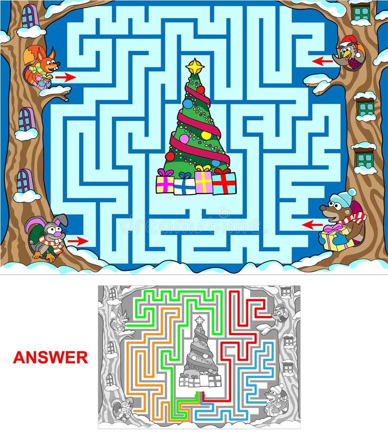 Weihnachten im Wald vektor abbildung