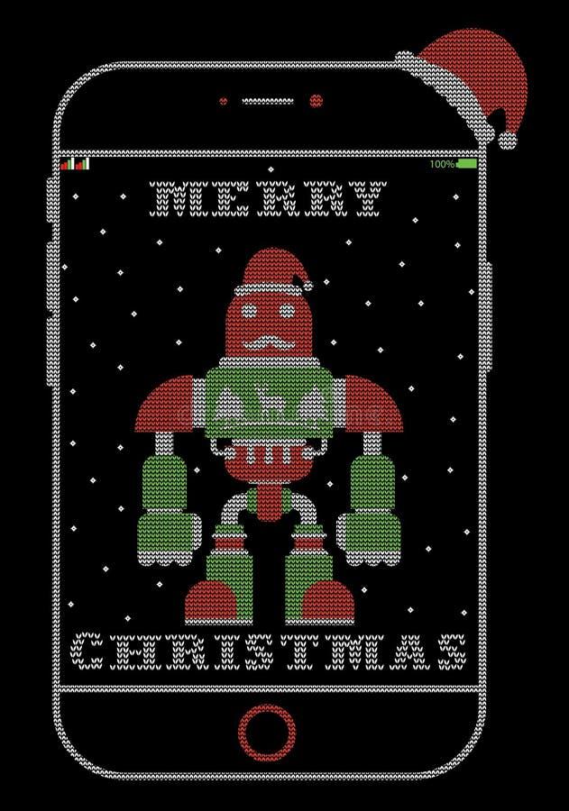 Weihnachten-iPhone Sankt-Roboter Art-T-Shirt Entwurf vektor abbildung