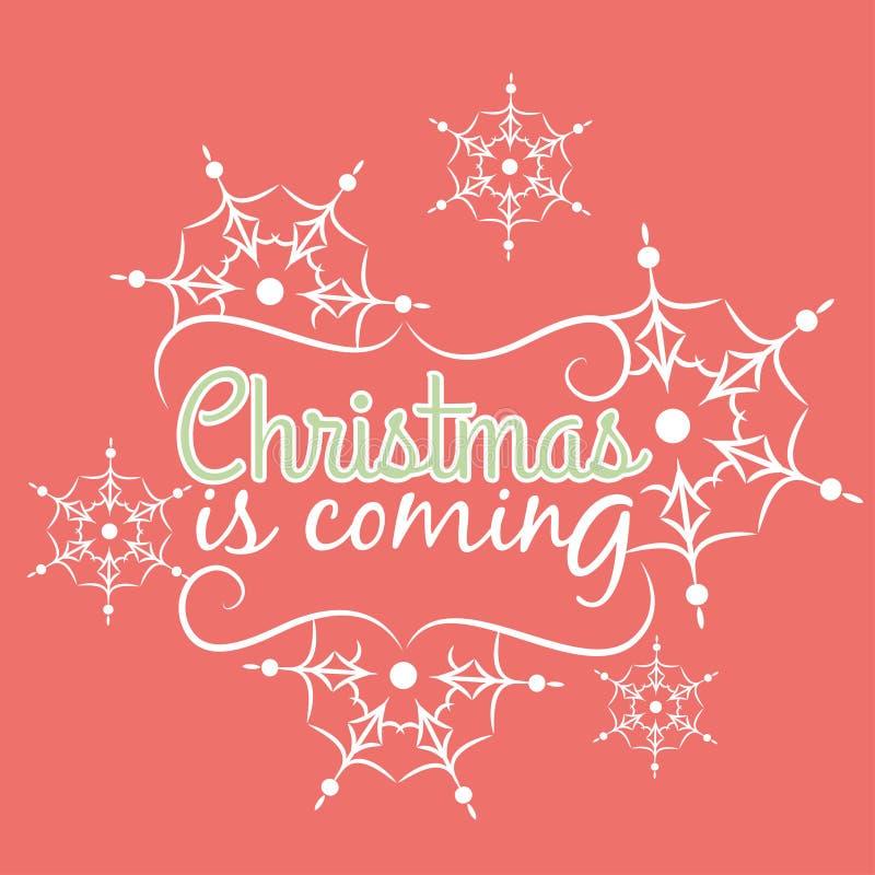 Weihnachten ist kommende Karte mit Schneeflockenverzierung lizenzfreie abbildung
