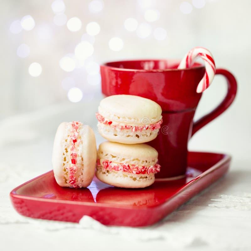 Weihnachten-macarons lizenzfreies stockbild