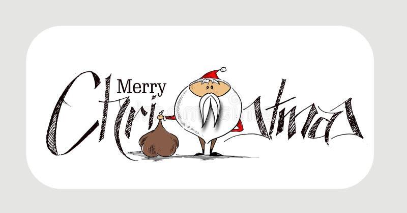 Weihnachten 2400Merry! Weihnachtshintergrund-Karikatur-Art-Hand Ske stock abbildung
