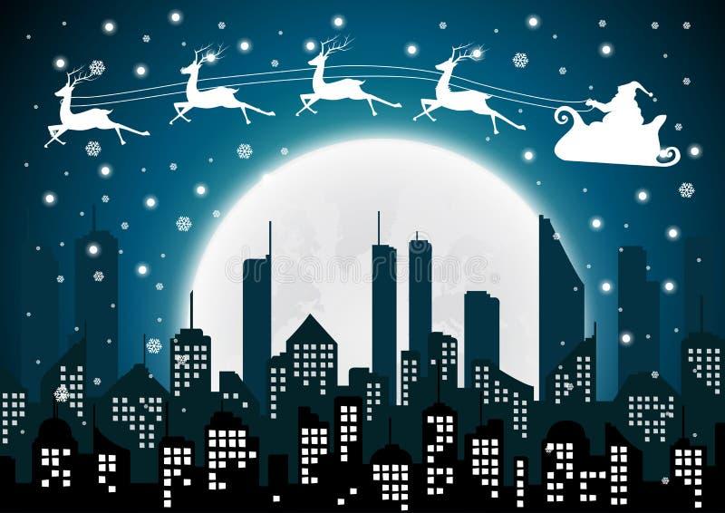 Weihnachten mit Santa Silhouette der Stadt und der Nacht lizenzfreie abbildung