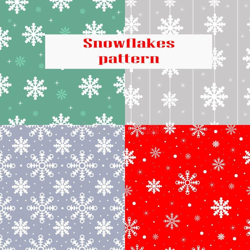 Weihnachten, nahtloses Muster des neuen Jahres mit Schneeflocken lizenzfreie abbildung