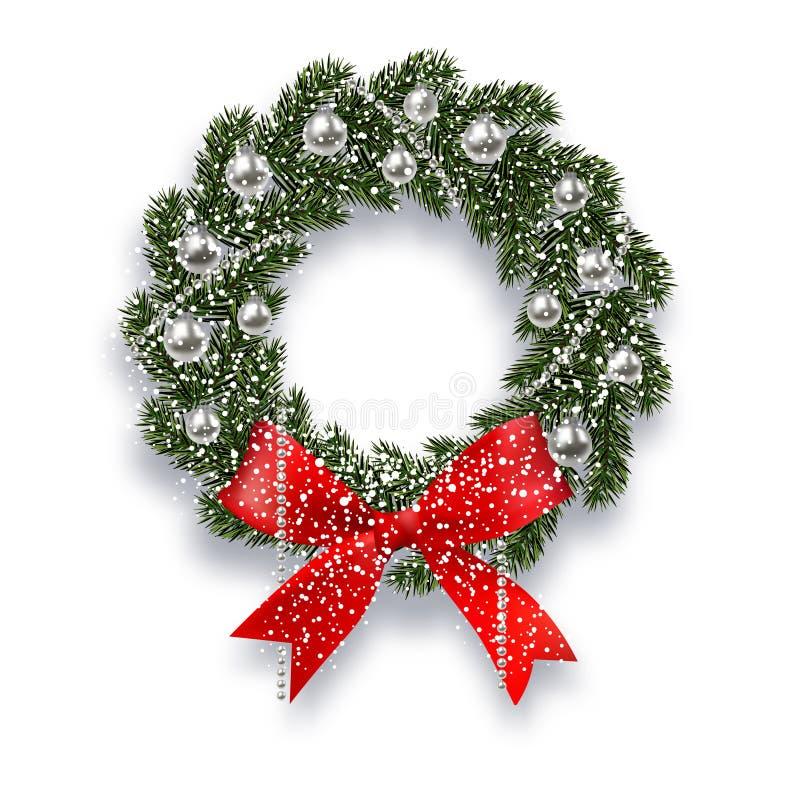 Weihnachten, neues Jahr Grüner gezierter Zweig Weihnachtskranz mit Schatten und Schneeflocken Rote Zwiebeln, silberne Bälle und stock abbildung