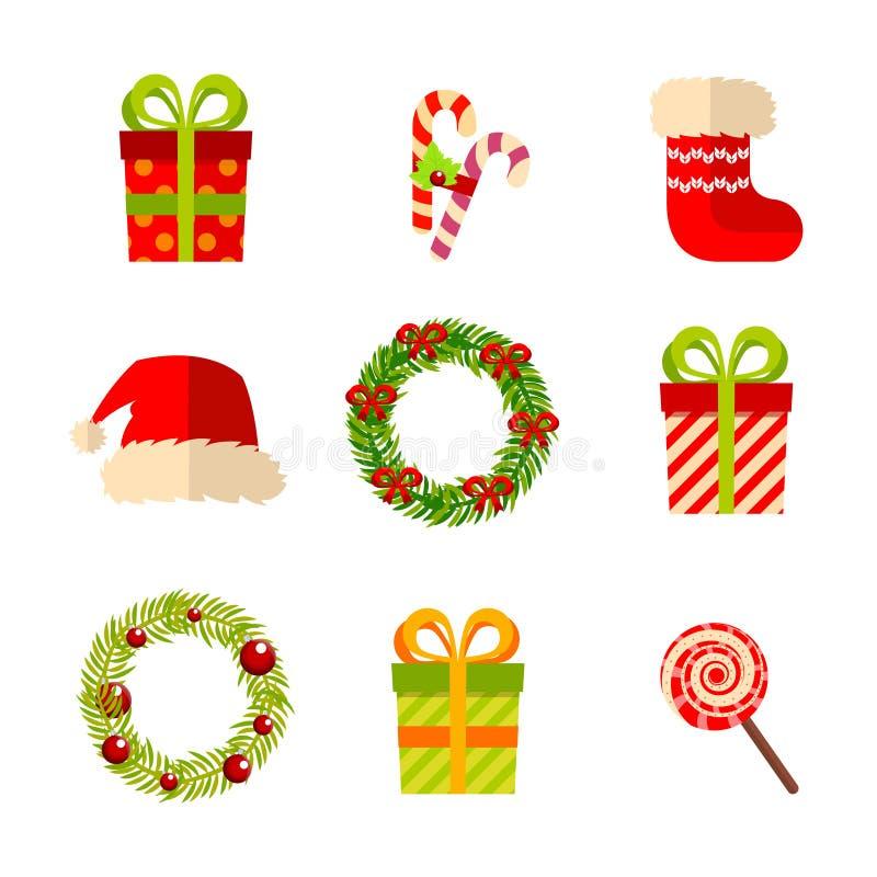 Weihnachten, Neujahrsgeschenke und Kränze, vector Ebene vektor abbildung