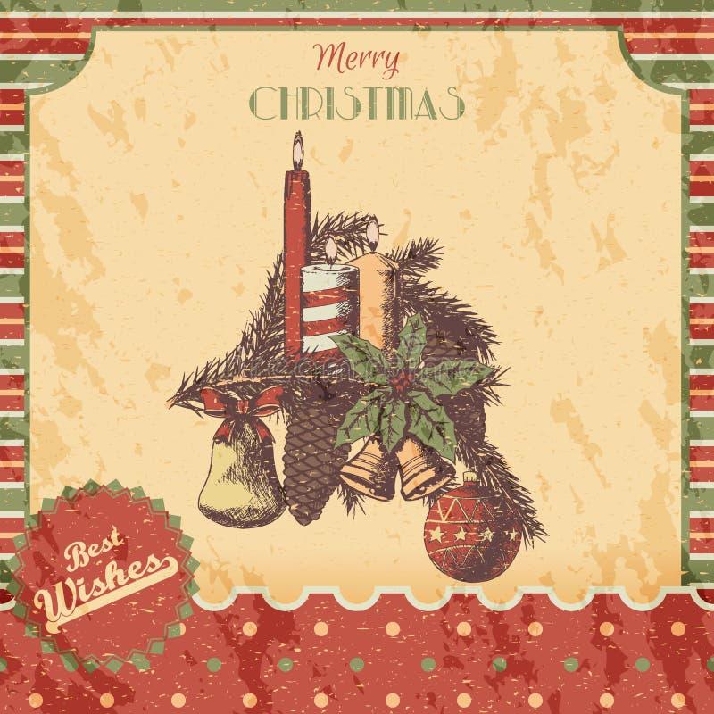 Weihnachten oder die gezeichnete Hand des neuen Jahres färbten Vektorillustration - Karte, Plakat Weihnachtsverzierungen, Kerzen  lizenzfreie abbildung