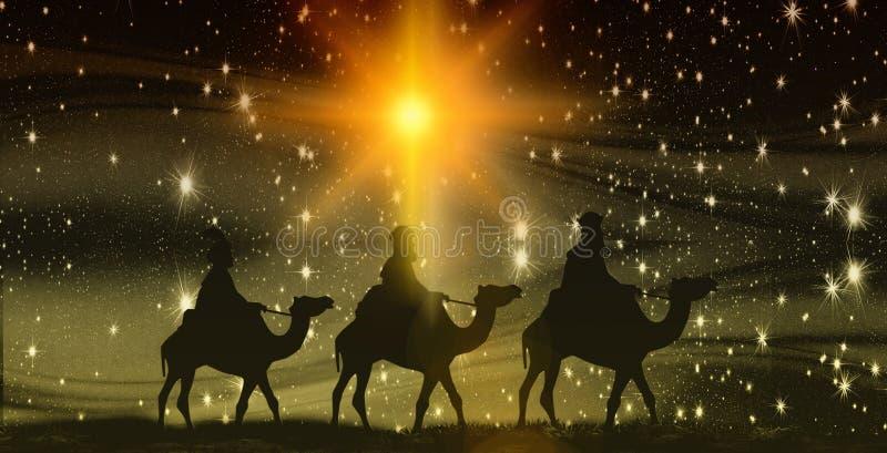 Weihnachten, Offenbarung, drei Könige auf Kamelen, Hintergrund mit Sternen lizenzfreie abbildung