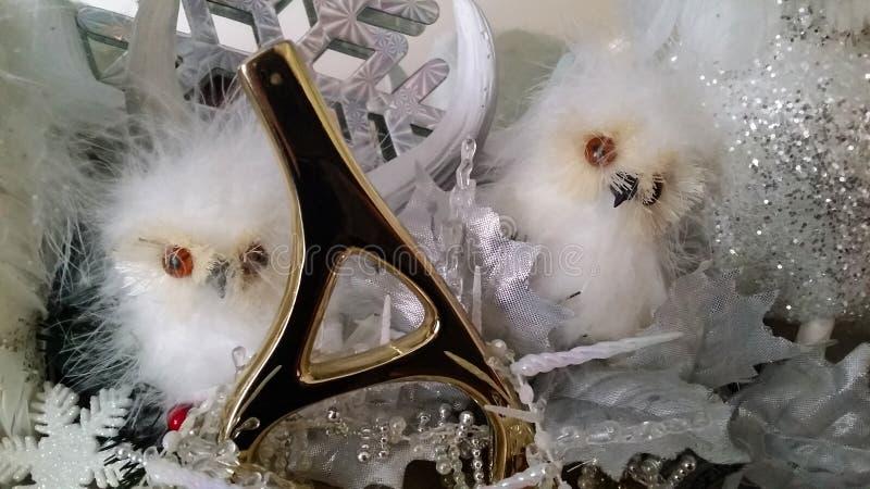 Weihnachten Owl Babies mit Goldenem ein Buchstabe stockfotos