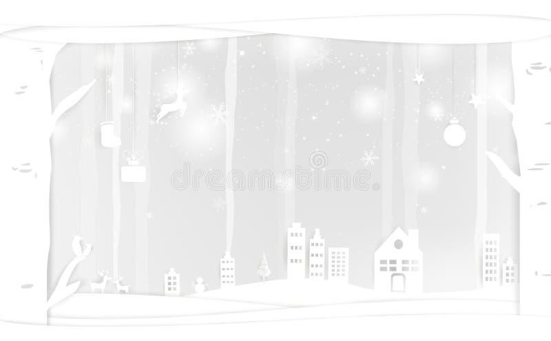 Weihnachten, Papierkunst, fallender Schnee, weißer Winter im cityscap lizenzfreie abbildung
