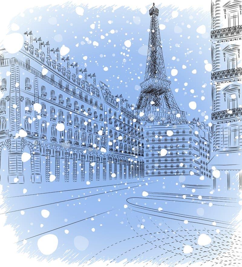 Weihnachten Paris lizenzfreie abbildung