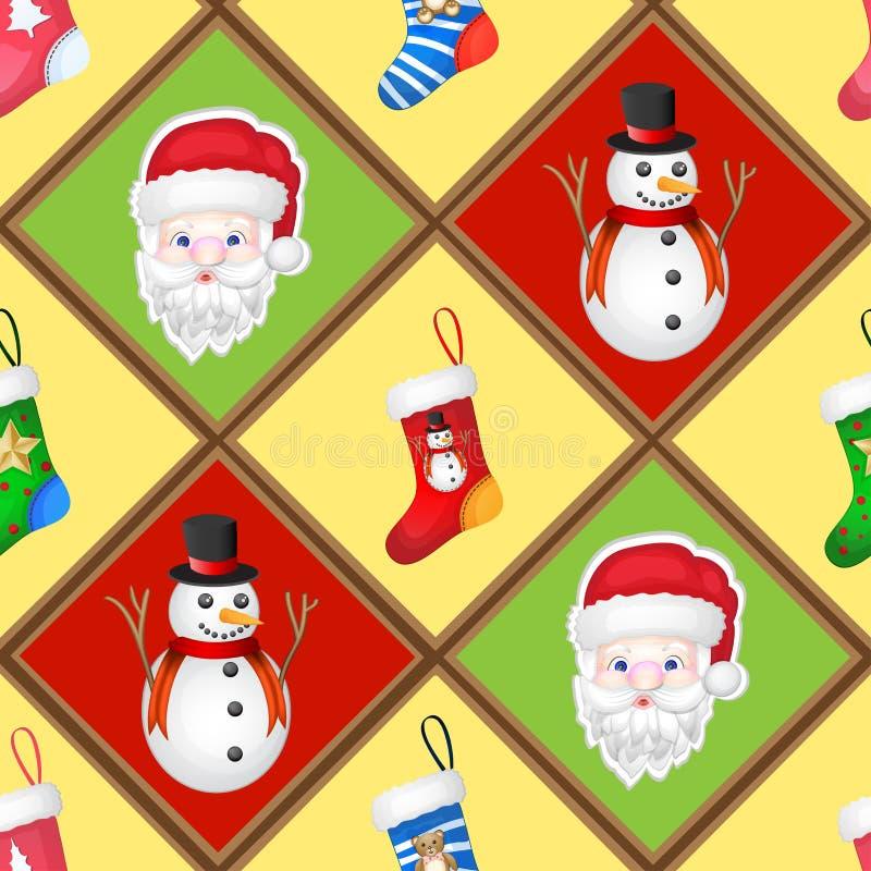 Weihnachten pattren mit Socken, Sankt und Schneemann lizenzfreie abbildung