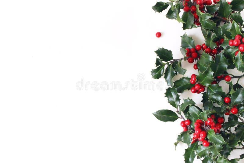 Weihnachten redete Zusammensetzung, dekorativen Rahmen, Fahne an Stechpalme-Grünblätter, rote Beeren und Niederlassungen an lokal stockfotos