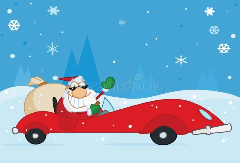 Weihnachten Sankt, die von seinem Rotsportauto wellenartig bewegt vektor abbildung