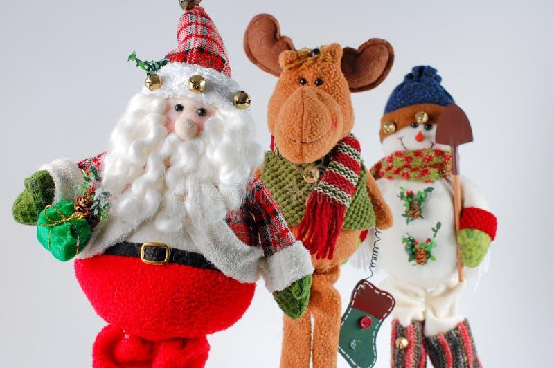 Weihnachten Sankt, Ren, Schneemann stockbilder