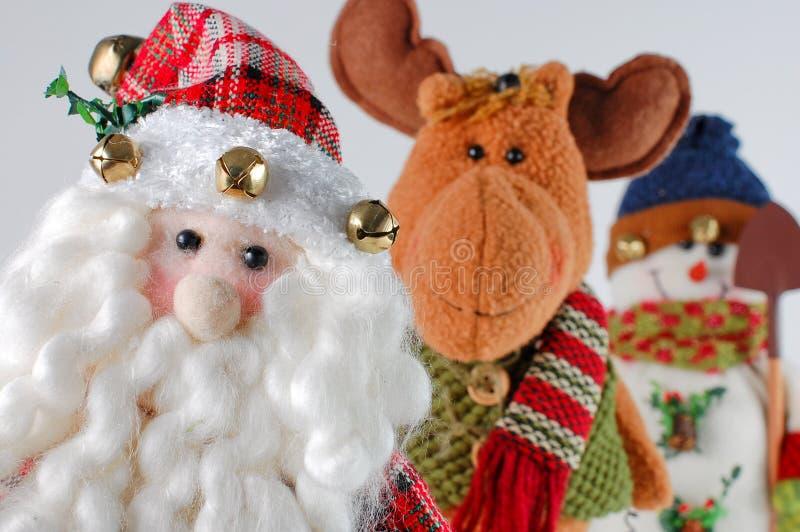 Weihnachten Sankt, Ren, Schneemann lizenzfreie stockfotos