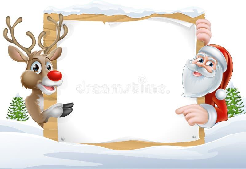 Weihnachten Sankt und Ren-Zeichen vektor abbildung