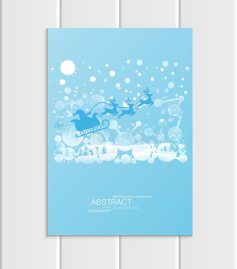 Weihnachten Santa Claus Design des Broschürenformats A5 oder A4 in Pferdeschlittenwinterlandschaftneuem Jahr 2018 stock abbildung