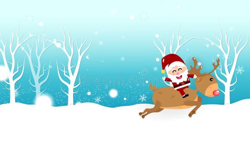 Weihnachten, Santa Claus-Reitrenkarikatur, Schneeflocken fallen, Winterurlaubjahreszeit-Kartenfahne, Feierzusammenfassung stock abbildung