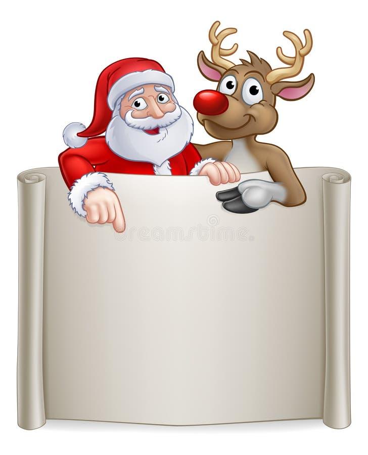 Weihnachten Santa Claus und Ren-Karikatur-Zeichen vektor abbildung